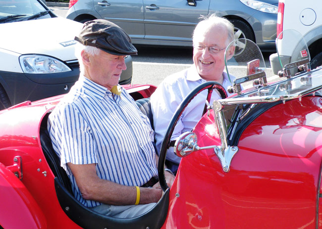 Drummond (left) drives his late fathers car for the first time, under the expert eye of current owner, Roy Palmer (right)