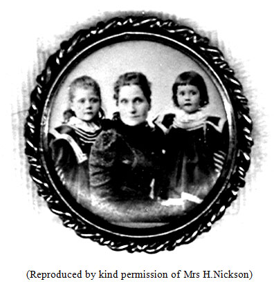 Photograph of a brooch showing Naomi in the centre, with daughters: Helen Ruth (on left of photograph) & Elizabeth Kathleen
